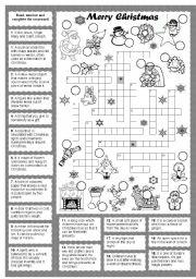 Christmas crossword  worksheet by silvana