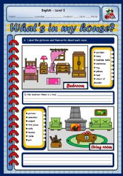 English Worksheet: IN MY HOUSE (TWO PAGES)