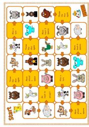 English Worksheets: Farm animals Boardgame