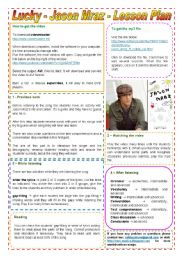 Lucky - Jason Mraz - Lesson Plan + video, burning, mp3 tutorial + links -  2 pages - fully editable (The Brazilian soap opera