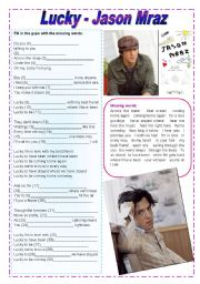 Lucky - Jason Mraz - While Listening Activities - 4 pages - fully editable (The Brazilian soap opera