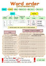 English Worksheet: WORD ORDER in statements and questions