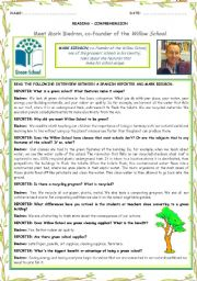 English Worksheets: READING COMPREHENSION - A GREEN SCHOOL - Two pages