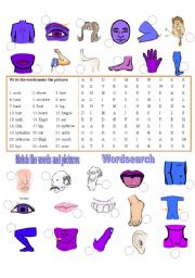 English Worksheets: Body Parts  - Match & Wordsearch