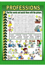 English Worksheets: professions crossword