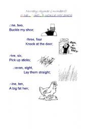 graphic about One Two Buckle My Shoe Printable named English worksheets: Just one, 2, BUCKLE my SHOE