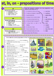 English Worksheet: AT, IN, ON - PREPOSITIONS OF TIME