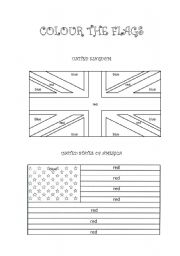 English Worksheet: Colour the flags (UK and USA)