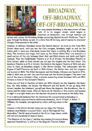 English Worksheets: Broadway Theatres_Reading and Questions