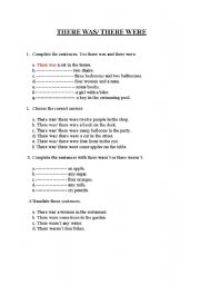 English Worksheet: THERE WAS & THERE WERE EXERCISES