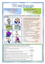 English Worksheet: Too and Enough