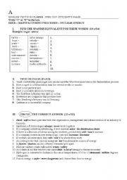 English worksheets: Beer, manufacturing processes, nuclear energy