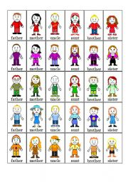 English Worksheet: 5 families fish card game (family - colours)