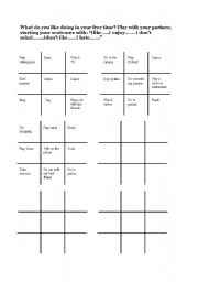 English Worksheet: Free time tic-tac-toe