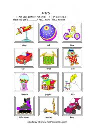 English Worksheets: Toys. Have you got a...............? Yes, I have. No I haven�t