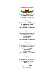 The 12 days of Christmas. Fill in the gaps.