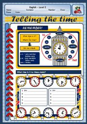 English Worksheet: ASKING AND TELLING THE TIME - PART ONE