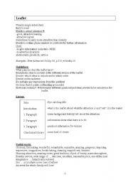 English Worksheet: Leaflet composition, leaflet writing help