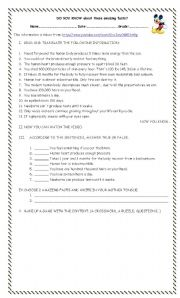 English Worksheets: Amazing facts about body