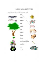 English Worksheets: Nouns and Adjectives for kids