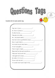 English Worksheets: questions tags