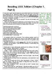 English Worksheet: Reading The Lord of the Rings by J.R.R.Tolkien - with exercises (Part 5)