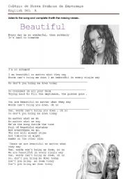 English Worksheet: Comprehension Test - Beautiful by Christina Aguilera