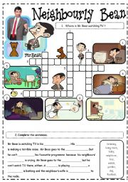 English Worksheets: Mr Bean video worksheet - Neighbourly Bean