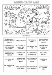 English Worksheet: WINTER COLOUR GAME