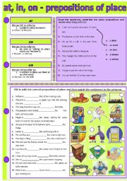 English Worksheet: AT, IN, ON - PREPOSITIONS OF PLACE