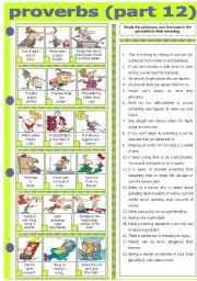 English Worksheet: PROVERBS - PART 12