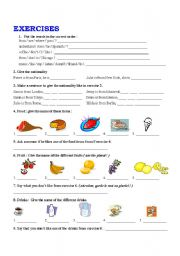 English Worksheets: SIMPLE PRESENT  FOOD   NATIONALITIES