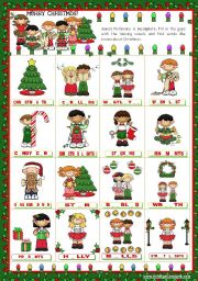 English Worksheet: Christmas Set  (2)  -  Completing Anna´s Pictionary with the missing vowels