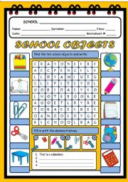 English Worksheet: CLASSROOM OBJECTS WORDSEARCH