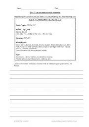 English Worksheets: Writing using notes (Aztec theme)