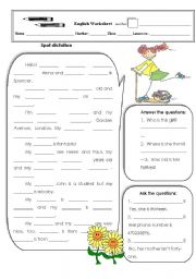 English Worksheet: Spot dictation