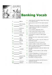 English Worksheet: Banking Vocab