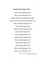 English Worksheets: Animals that begin with...