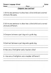 English Worksheets: Compare and contrast