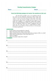 English Worksheets: Reading Comprehension-Passage1