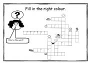 English Worksheet: Colour crossword - 2 versions - second with help