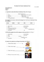 English worksheet: ana exam for present contýnuous tense