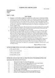 English Worksheets: reading-writing exam