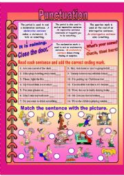 English Worksheet: Knd of sentences and punctuation guide