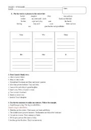 English worksheet: TO BE AND TO HAVE EXAM