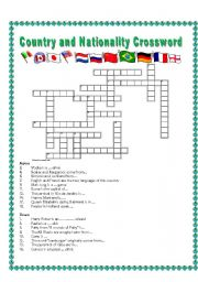 Country and Nationality Crossword