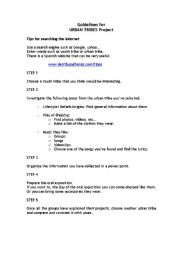 English Worksheet: Guidelines for URBAN TRIBES Project