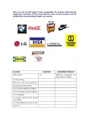 English worksheet slogans and logos