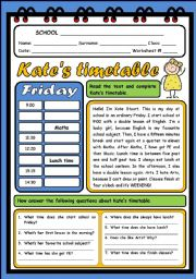 English Worksheets: KATE�S TIMETABLE