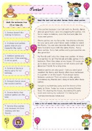 English Worksheets: Parties! (1/2)